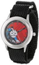 Thomas and Friends Kids' W000724 Stainless Steel Time Teacher Black Velcro Strap
