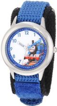 Thomas and Friends Kids' W000725 Stainless Steel Time Teacher Blue Velcro Strap
