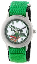 Thomas and Friends Kids' W000726 Stainless Steel Time Teacher Green Velcro Strap