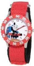 Thomas and Friends Kids' W000729 Stainless Steel Time Teacher Red Bezel Red Velcro Strap
