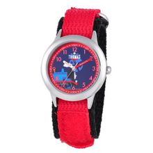 Thomas and Friends Kids' W000731 Stainless Steel Time Teacher Red Velcro Strap