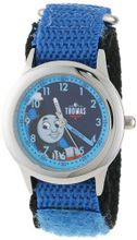 Thomas and Friends Kids' W000732 Stainless Steel Time Teacher Blue Velcro Strap