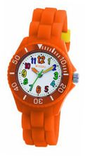 Tikkers Boys - Girls Kids White Dial Orange Rubber / Silicone Strap TK0015