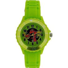 Tikkers Boys Lime Green Red Dragon Design Rubber / Silicone Strap TK0054