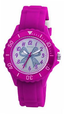 Tikkers Girls Hot Pink Rubber/Silicon Strap with Glitter Bow TK0033