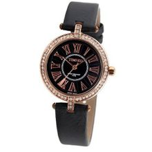 Time100 British Style Diamond Roman Numerals Black Strap Ladies #W50043L.03A