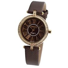 Time100 British Style Diamond Roman Numerals Coffee Strap Ladies #W50043L.02A