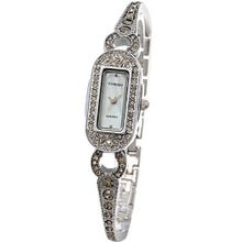 Time100 Colorful Pearl Dial White Diamonds Steel Case Ladies Chain #W50062L.02A