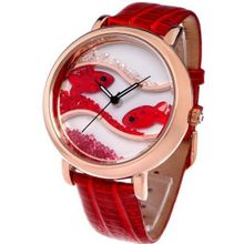 Time100 Diamond Crystal Fish Dial Genuine Leather Dark Red Strap Ladies #W50059L.04A
