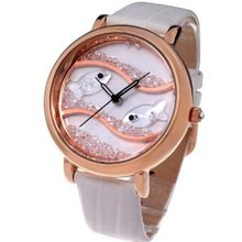 Time100 Diamond Crystal Fish Dial Genuine Leather White Strap Ladies #W50059L.03A