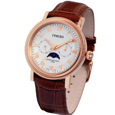 Time100 Moon Phase Waterproof Rose Golden Dial W80021G.03A