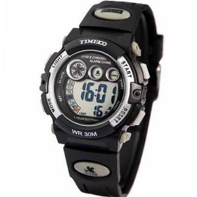 Time100 Multifunctional Digital Sport Electronic Silver Bezel Kids #W40003M.03A