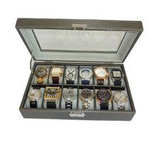 12 Piece Pewter Carbon Fiber Display Case or Ladies Box Collection Jewelry Storage Glass Top