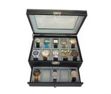 20 Piece Black Leatherette Box Display Case Collection Jewelry Box Storage Glass Top
