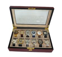 Elegant 12 Piece Cherry Wood Rosewood Box Display Case Collection Jewelry Box Storage Glass Top
