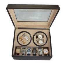 TimelyBuys 4 + 6 Quad Chocolate Brown Leatherette Automatic Winder & Storage Case
