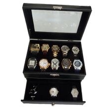 uTimelyBuys 20 Piece Black Carbon Fiber Pattern Box Display Case Collection Jewelry Box Storage Glass Top