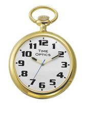 TimeOptics Gold-Tone Low Vision Open Face Pocket # GWC601