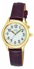 TimeOptics Talking Gold-Tone Day-Date Alarm Leather Strap # GWC101G