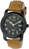 Timex T2P1339J Elevated Classics Black Dial, Tan Leather Strap