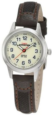 Timex T41181 Expedition Metal Field Brown Leather and Nylon Strap