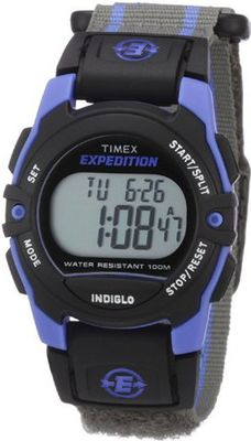 Timex Unisex T49660 Expedition Classic Digital Chrono Alarm Timer Blue/Gray Fast Wrap Velcro Strap