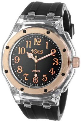 Tocs Unisex 40011 Analog Round Diver Rose Black with Rose-Tone