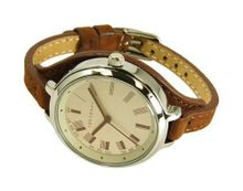"TokyoBay Ladies ""Code"" Slim Leather Band Round Face in Brown"