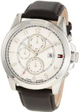 Tommy Hilfiger 1710294 Stainless Steel and Leather Strap White Dial