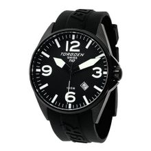 Torgoen Swiss T10301 Black Ion-Plated 3-Hand Analog Rubber Strap