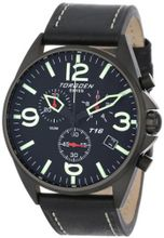 Torgoen Swiss T16101 Aviation Chronograph Black Dial Leather Strap