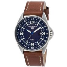 Torgoen - T25103 - Gents - Analogue Quartz - Blue Dial - Black / Beige Leather Strap