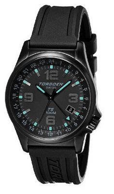 uTorgoen TORGOEN Swiss T05303 42mm Aviation with 24Hr Dual Time Zone (GMT) and Black PU Strap