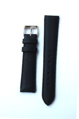 22mm Classic Black Italian Calfskin Leather band with S/S Buckle.