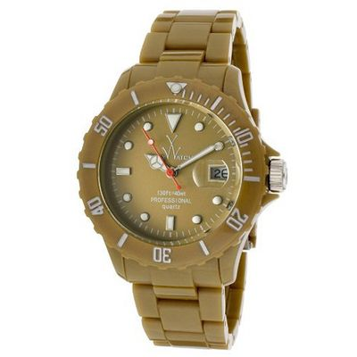 Toy Fluo Time Only FL38GD All Gold Unisex Plasteramic Plastic Ceramic Date Display Rotating Bezel