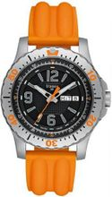 Stainless Steel Extreme Sport Black Dial Orange Strap