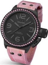 TW Steel Canteen 45mm Black Dial Crystal-set Bezel Pink Leather Ladies TW911
