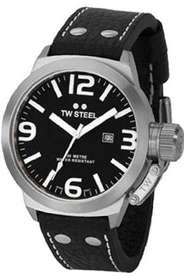 TW Steel TW2 Canteen Black Leather Black Dial