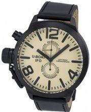 LIMITED EDITION! U-boat Left Hook IFO Chronograph Black PVD Steel Beige Dial 7249