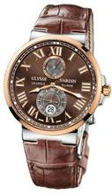 MENS ULYSSE NARDIN MAXI MARINE CHRONOMETER GOLD BROWN WRIST-WATCH 265-67/45
