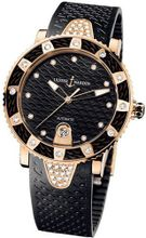 New Ladies Ulysse Nardin Marine Diamonds Lady Diver 18K Rose Gold Black 8106-101E-3C/12