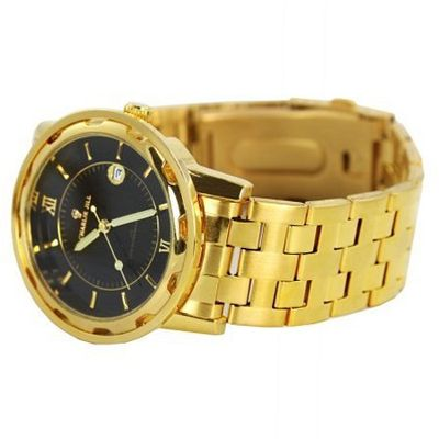 Charlie Jill  in Black Dial Goldtone Stainless Steel Bracelet , Perfect Gift Idea
