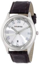UNLISTED WATCHES UL1010 City Streets Silver Round Roman Numeral Brown Strap