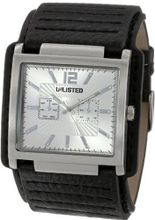 UNLISTED WATCHES UL1134 City Streets Square Silver Case and Dial Black Biker Strap