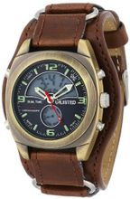 UNLISTED WATCHES UL1138 City Streets Round Analog Digital Brown Biker Strap