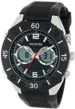 UNLISTED WATCHES UL1159 City Streets Silver Case Analog-Digital Black Dial Bezel Black Strap