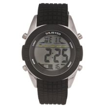 UNLISTED WATCHES UL1189 City Streets Reverse Black Digital Screen Black Bezel Strap