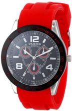 UNLISTED WATCHES UL1203 City Streets Round Silver Case Black Dial Bezel Red Strap