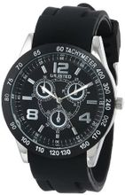 UNLISTED WATCHES UL1204 City Streets Round Silver Case Black Dial Bezel Black Strap