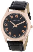 UNLISTED WATCHES UL1216 City Streets Rose Gold Case Roman Numerals Black Dial Strap